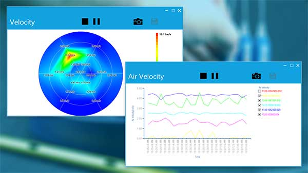 HVAC air velocity sensor data can be viewed in real-time with software that allows for logging, graphing, and printing.