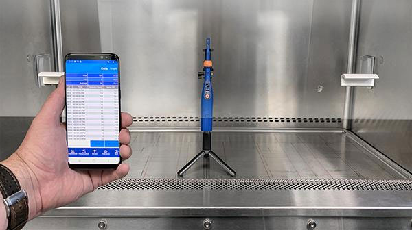 c point anemometer in fume hood with app