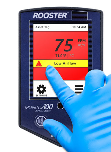 Grossing hood air velocity monitor allows for ease of integration into building automation and control systems.