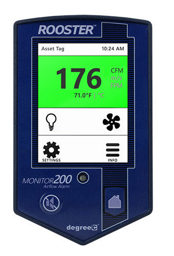 Grossing hood airflow monitor features touchscreen access to robust features.