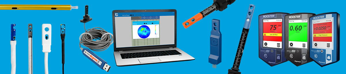 HVAC flow meter for single and multipoint measurement of air velocity, temperature, and humidity.