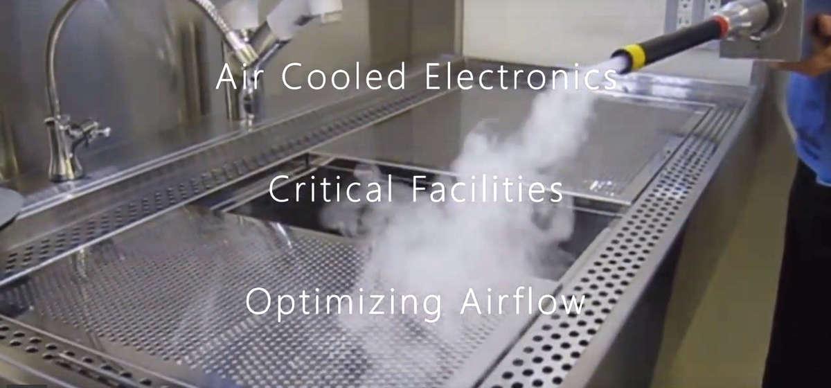 Smoke generator wand for laminar airflow qualification testing and airflow pattern profiling.