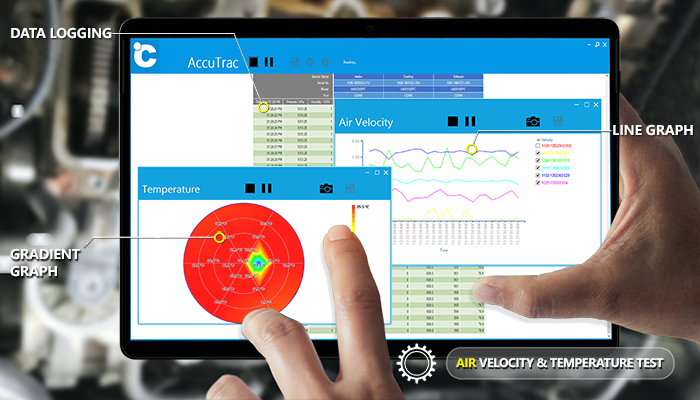Automotive airflow testing using air velocity and temperature sensors with integrated data collection and reporting software.