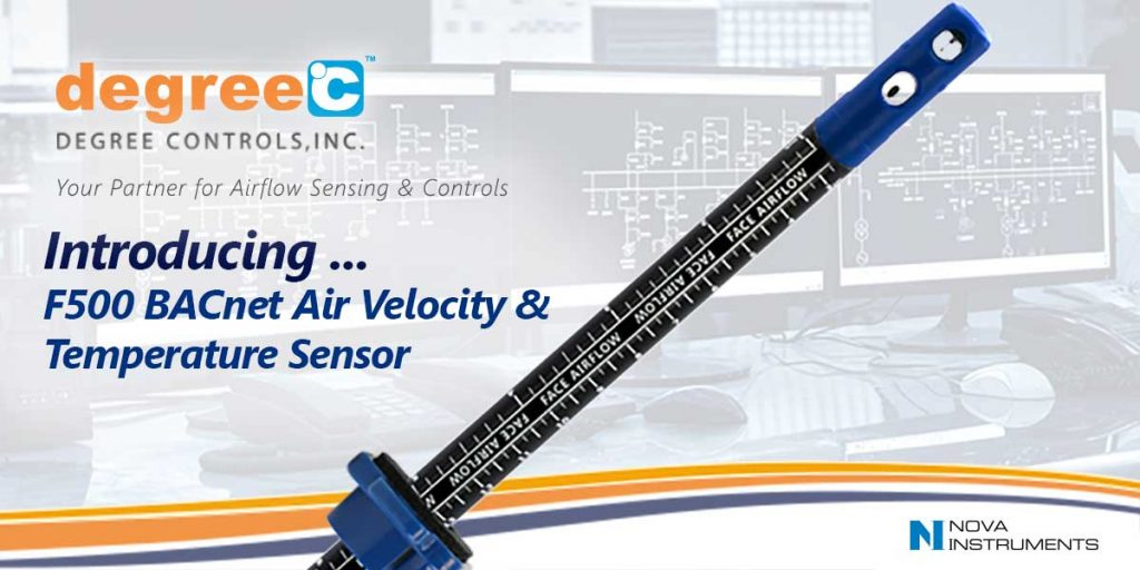 Air velocity and temperature sensor with BACnet MS/TP communication.