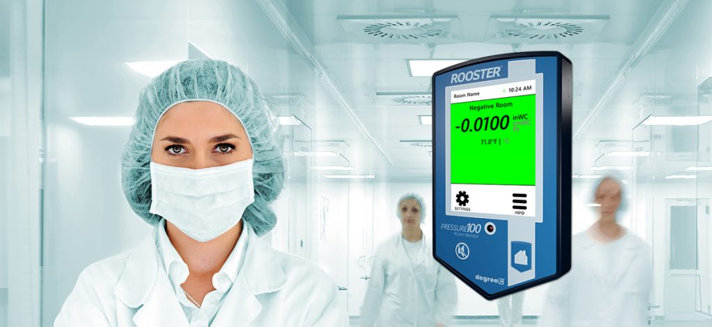 Monitoring Cleanrooms and ICUs with airflow and pressure monitors with alarm capability