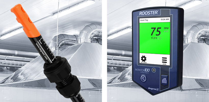 LEV monitoring using airflow switches and monitors that alarm at a set threshold.