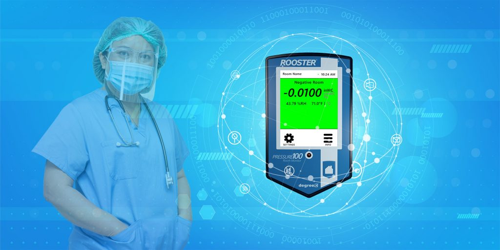 Air pressure monitor for the healthcare industry including hospital ICUs.